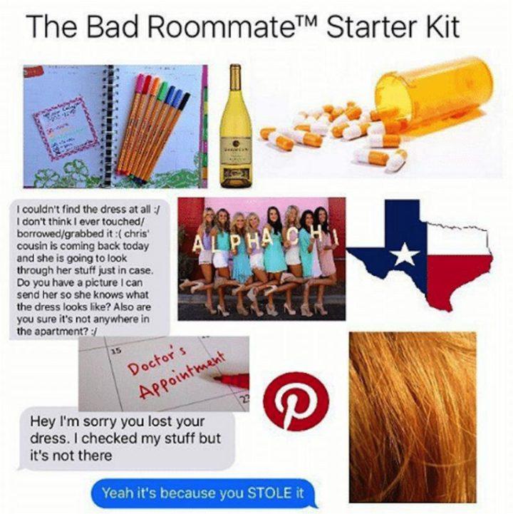 """""""The bad roommate starter kit."""""""
