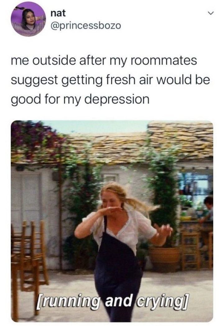 """""""Me outside after my roommates suggest getting fresh air would be good for my depression: [Running and crying]."""""""