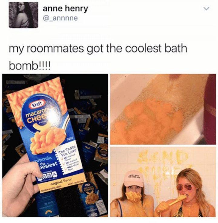 """My roommates got the coolest bath bomb!!!!"""