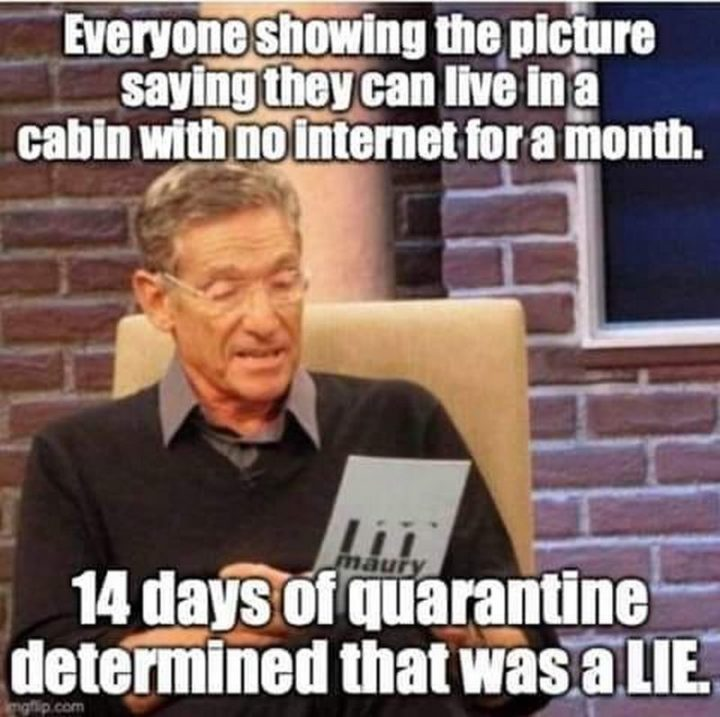 "71 Adult Memes - ""Everyone showing the picture saying they can live in a cabin with no internet for a month. 14 days of quarantine determined that was a LIE."""