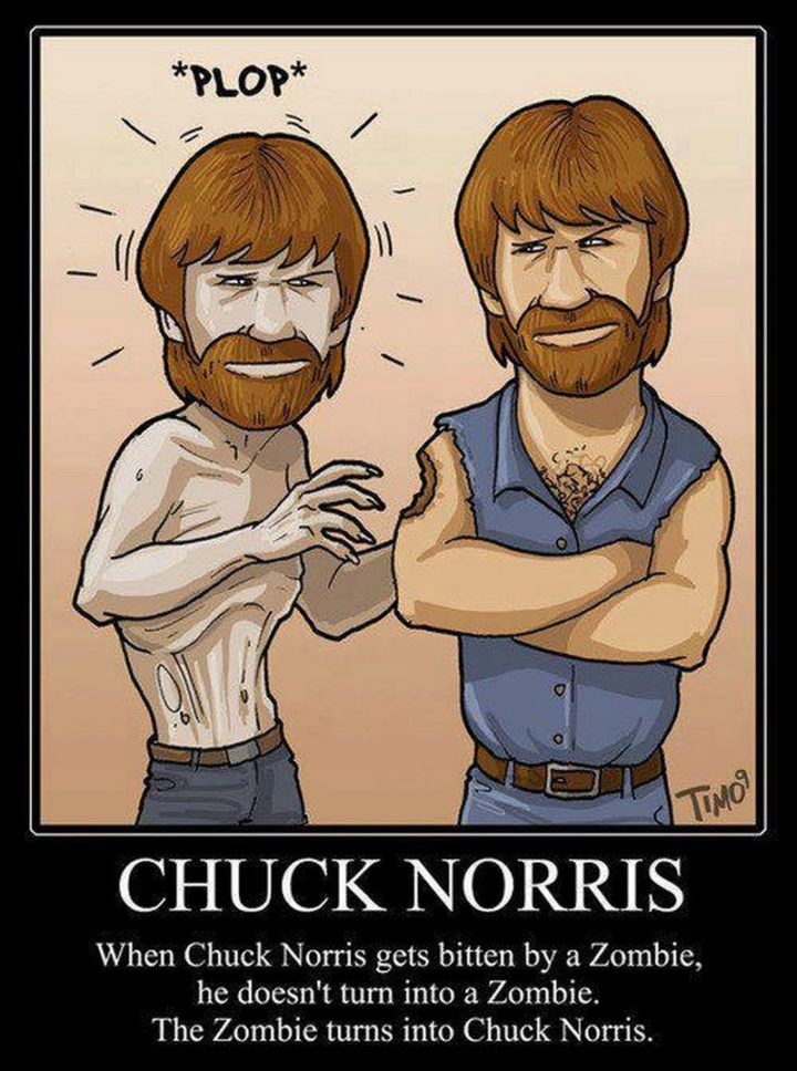 """""""When Chuck Norris gets bitten by a zombie, he doesn't turn into a zombie. The zombie turns into Chuck Norris."""""""
