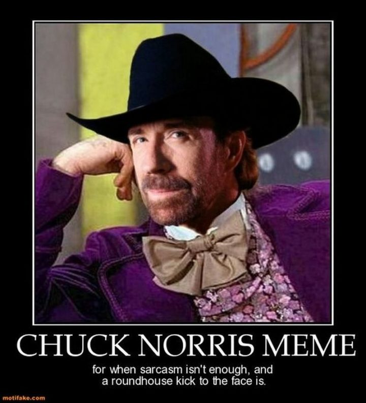 """""""Chuck Norris meme for when sarcasm isn't enough and a roundhouse kick to the face is."""""""