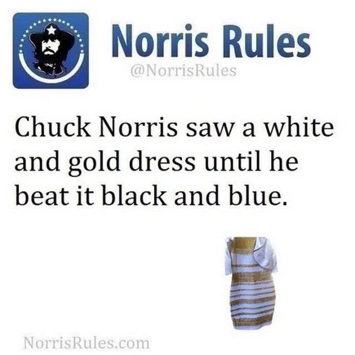"""""""Chuck Norris saw a white and gold dress until he beat it black and blue."""""""