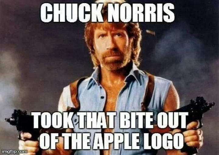 """""""Chuck Norris took that bite out of the Apple logo."""""""
