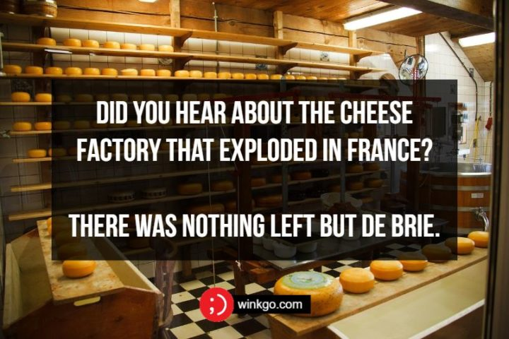 71 Two-Line Funny Jokes - Did you hear about the cheese factory that exploded in France? There was nothing left but de Brie.