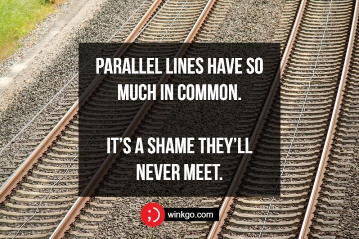 Parallel lines have so much in common. It's a shame they'll never meet.