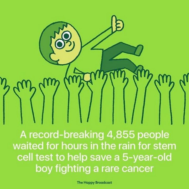 """The Happy Broadcast - """"A record-breaking 4,855 people waited for hours in the rain for stem cell test to help save a 5-year-old boy fighting rare cancer."""""""