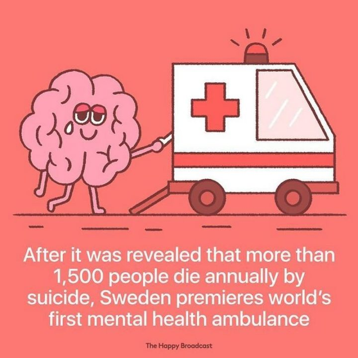 """The Happy Broadcast - """"After it was revealed that more than 1,500 people die annually by suicide, Sweden premieres the world's first mental health ambulance."""""""