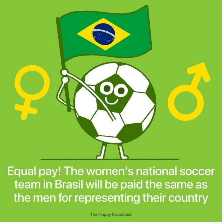 """""""Equal pay! The women's national soccer team in Brasil will be paid the same as the men for representing their country."""""""