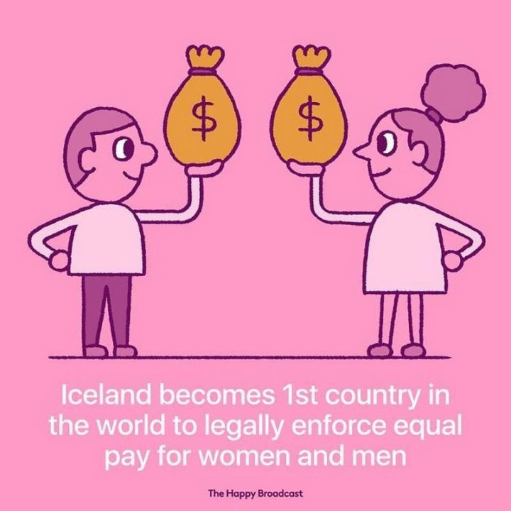 """""""Iceland becomes 1st country in the world to legally enforce equal pay for women and men."""""""