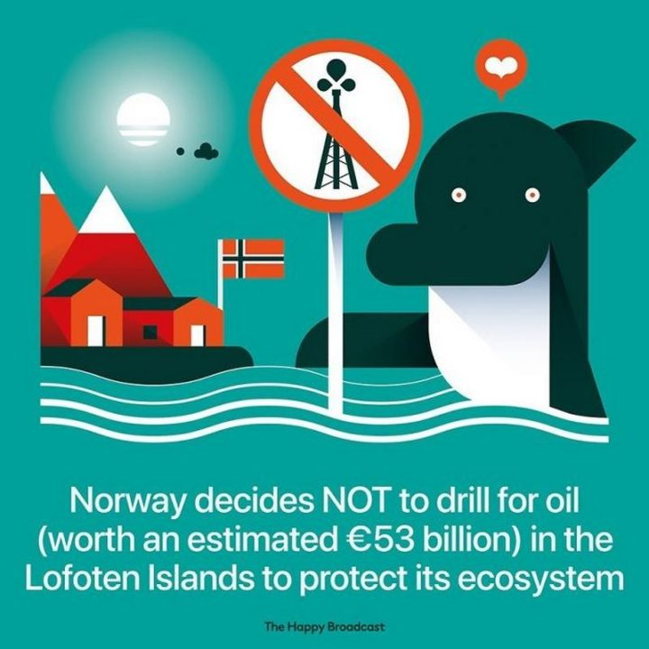 """The Happy Broadcast - """"Norway decides NOT to drill for oil (worth an estimated €53 billion) in the Lofoten Islands to protect its ecosystem."""""""
