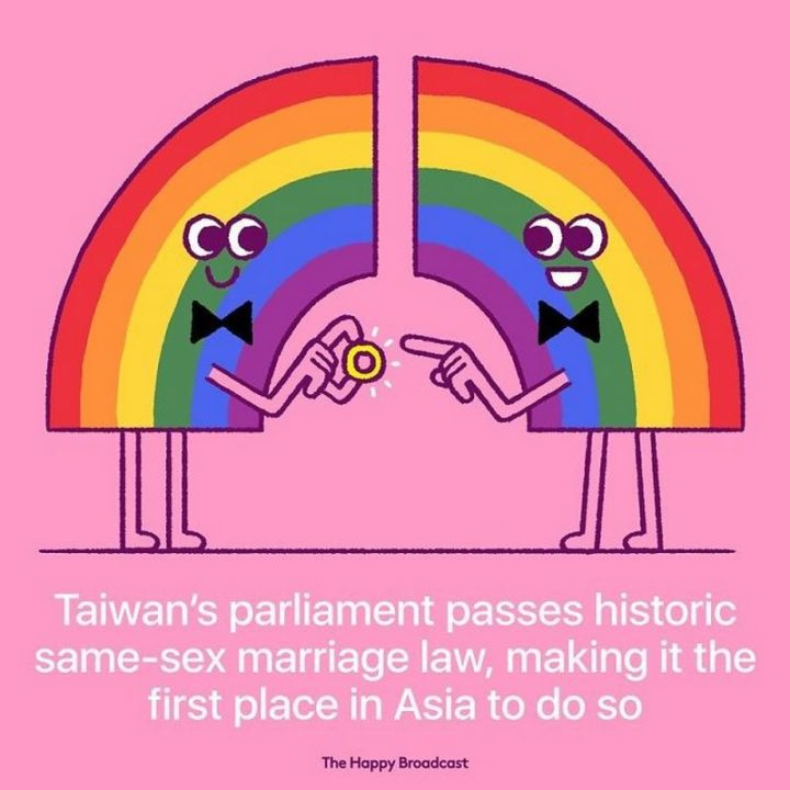 """""""Taiwan's parliament passes historic same-sex marriage law, making it the first place in Asia to do so."""""""