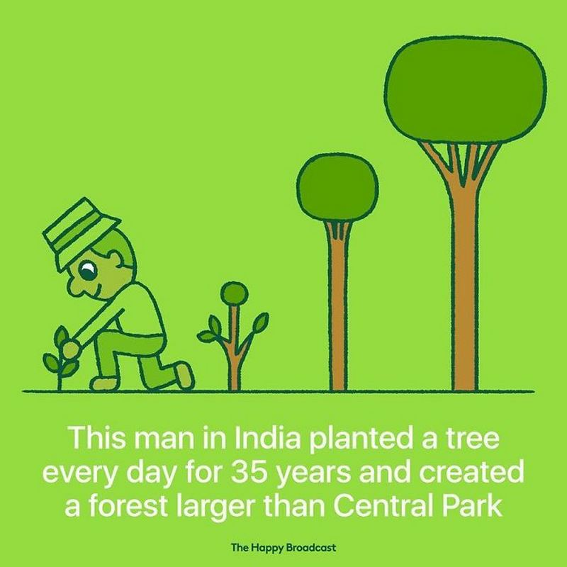 """""""This man in India planted a tree every day for 35 years and created a forest larger than Central Park."""""""