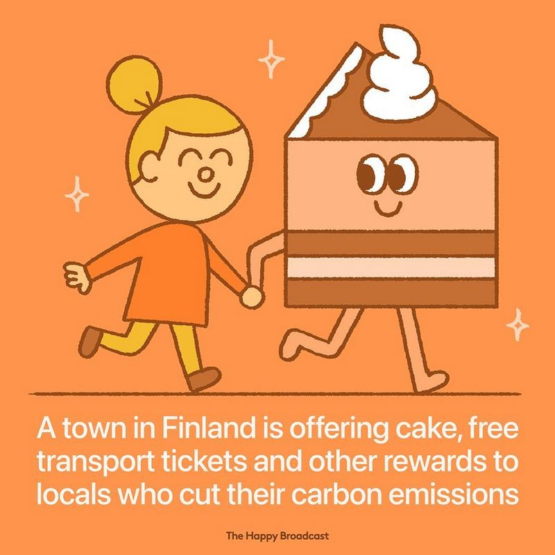 """""""A town in Finland is offering cake, free transport tickets, and other rewards to locals who cut their carbon emissions."""""""