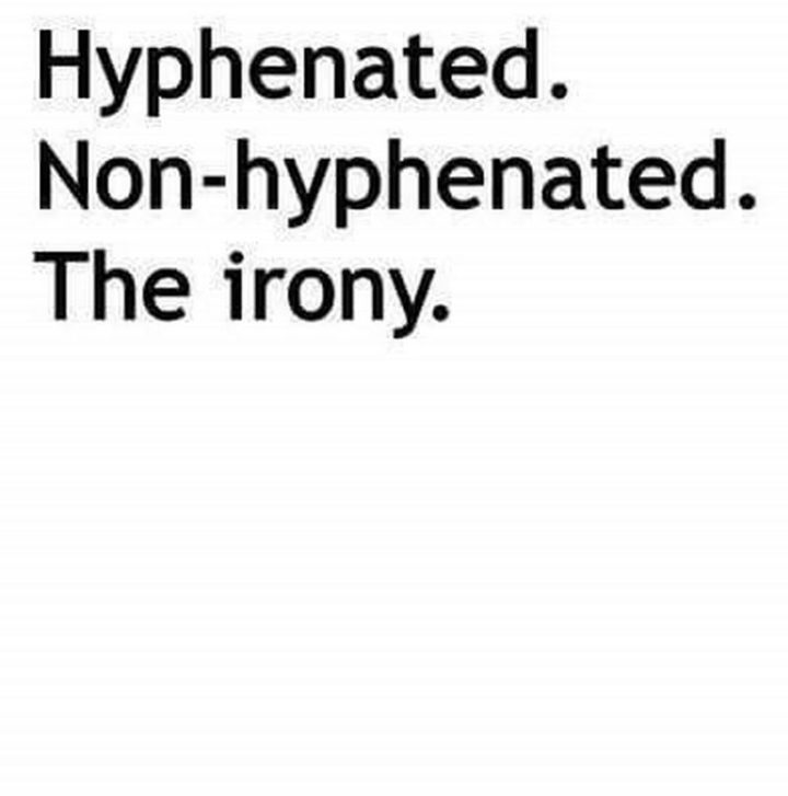 """57 Grammar Memes - """"Hyphenated. Non-hyphenated. The irony."""""""