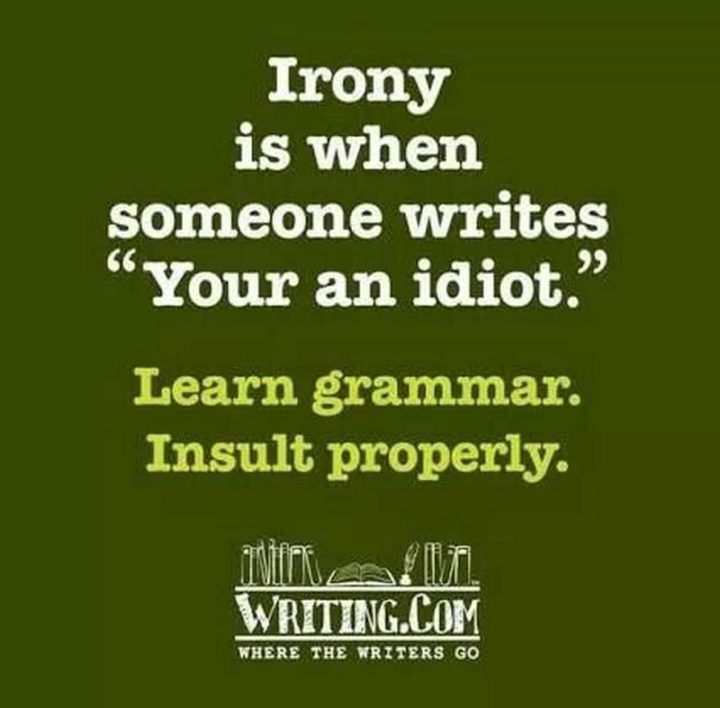 """""""Irony is when someone writes, 'Your an idiot'. Learn grammar. Insult properly."""""""
