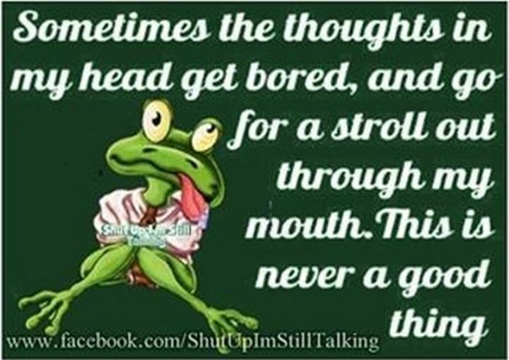 """""""Sometimes the thoughts in my head get bored and go for a stroll out through my mouth. This is never a good thing."""""""