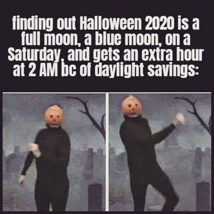 """""""Find out Halloween 2020 is a full moon, a blue moon, on a Saturday, and gets an extra hour at 2 AM because of daylight savings:"""""""