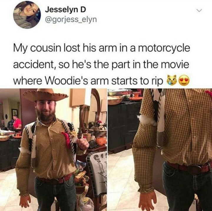 """""""My cousin lost his arm in a motorcycle accident, so he's the part in the movie where Woodie's arm starts to rip."""""""