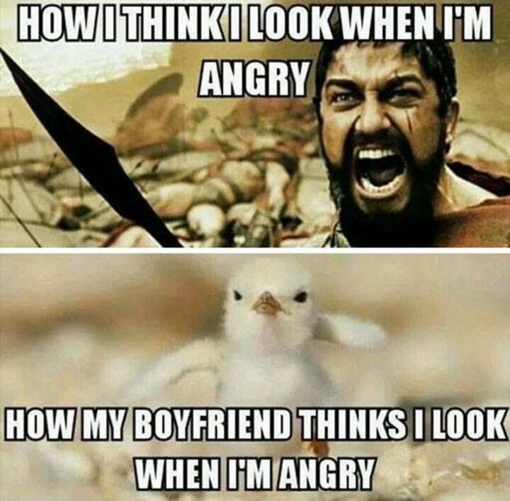 """""""How I think I look when I'm angry. How my boyfriend thinks I look when I'm angry."""""""