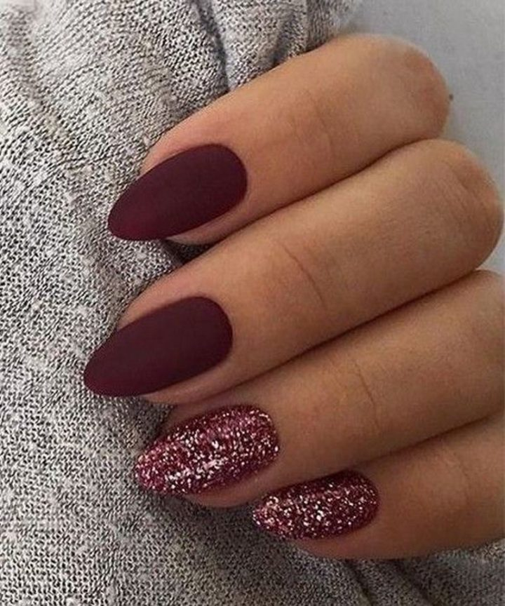 Ravishing red maroon nails.