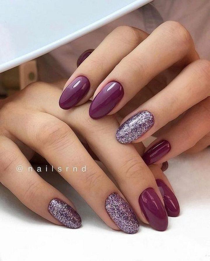 Trendy purple nails.