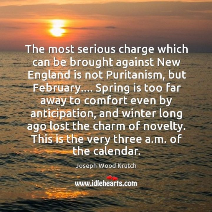 """""""The most serious charge which can be brought against New England is not Puritanism, but February...Spring is too far away to comfort even by anticipation, and winter long ago lost the charm of novelty. This is the very three a.m. of the calendar."""" - Joseph Wood Krutch"""