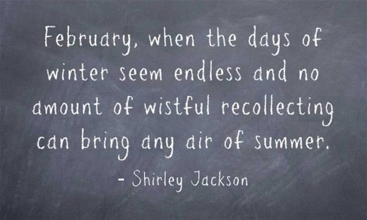 """""""February, when the days of winter seem endless and no amount of wistful recollecting can bring back any air of summer."""" - Shirley Jackson"""
