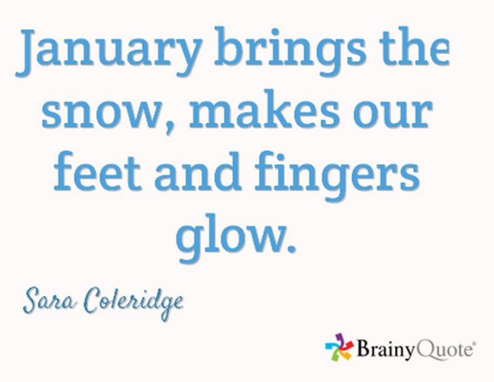 """""""January brings the snow, makes our feet and fingers glow."""" - Sara Coleridge"""