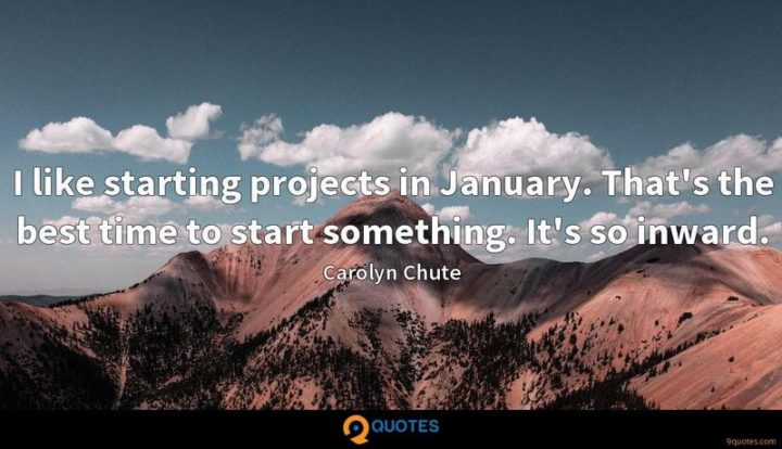 """""""I like starting projects in January. That's the best time to start something. It's so inward."""" - Carolyn Chute"""