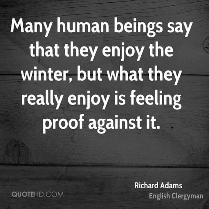 """""""Many human beings say that they enjoy the winter, but what they really enjoy is feeling proof against it."""" - Richard Adams"""