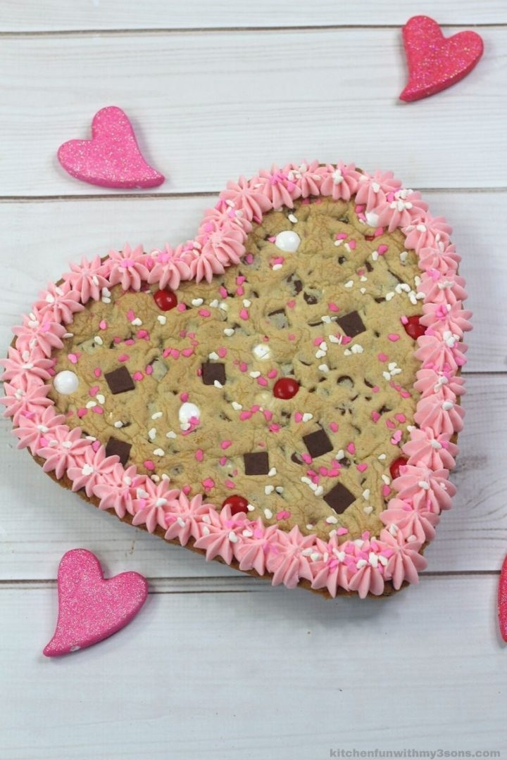 Heart Shaped Cookie Cake For Valentine's Day.