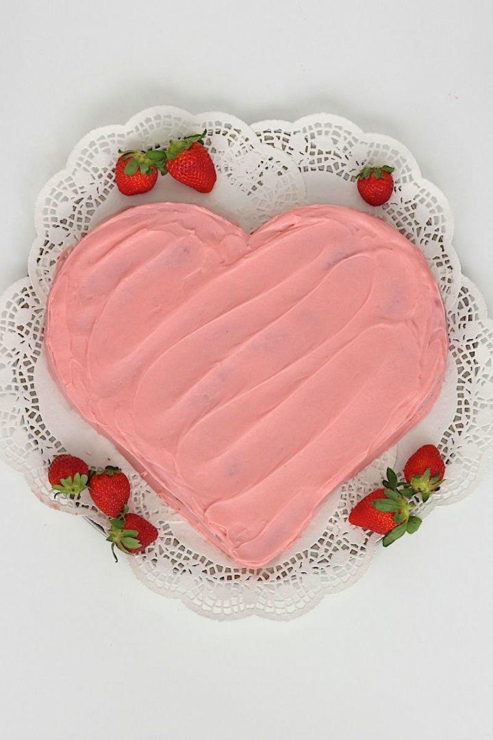 Fresh Strawberry Heart Cake.
