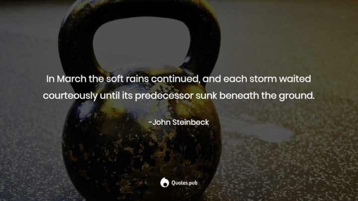 """""""In March the soft rains continued, and each storm waited courteously until its predecessor sunk beneath the ground."""" - John Steinbeck"""