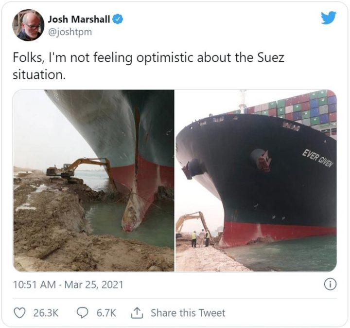 """Folks, I'm no feeling optimistic about the Suez situation."""