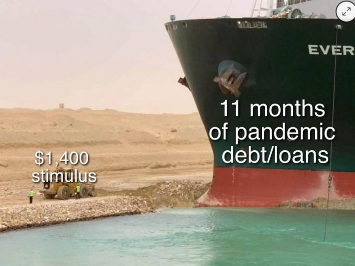 """$1,400 stimulus. 11 months of pandemic debt/loans."""