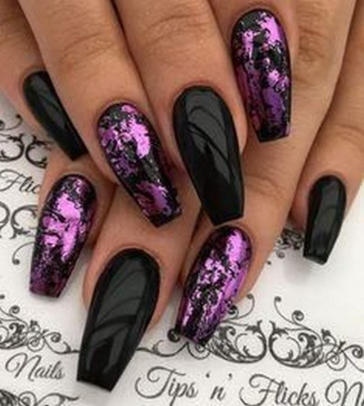 Stunning black nail designs for coffin nails.