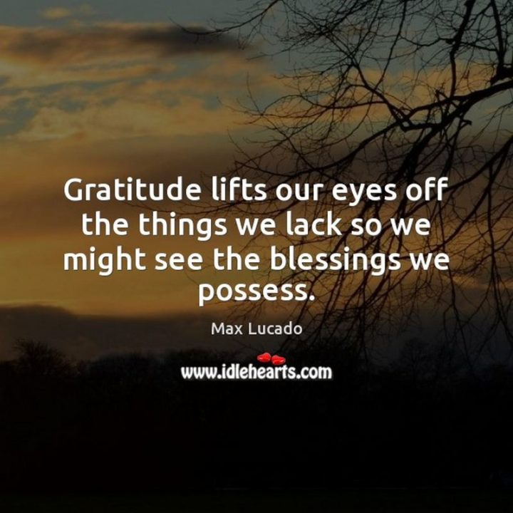 """""""Gratitude lifts our eyes off the things we lack so we might see the blessings we possess."""" - Max Lucado"""