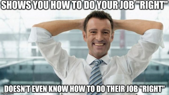 """Shows you how to do your job ""right"". Doesn't even know how to do their job ""right""."""