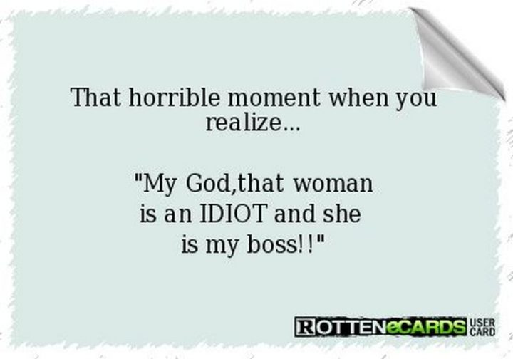"""That horrible moment when you realize...My God, that woman is an IDIOT and she is my boss!!"""
