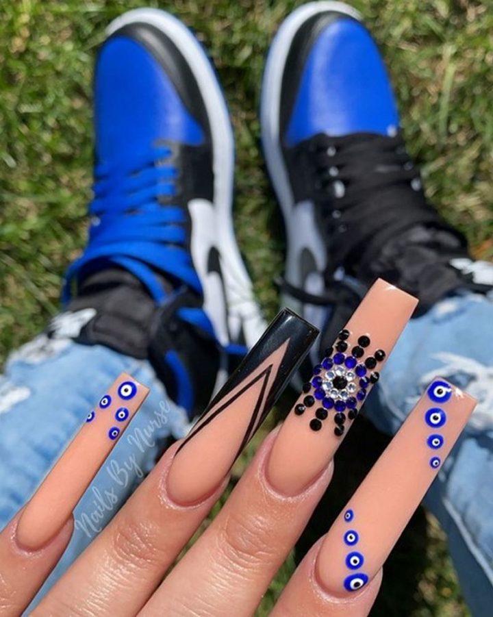 Evil Eye Varying Style Nails.