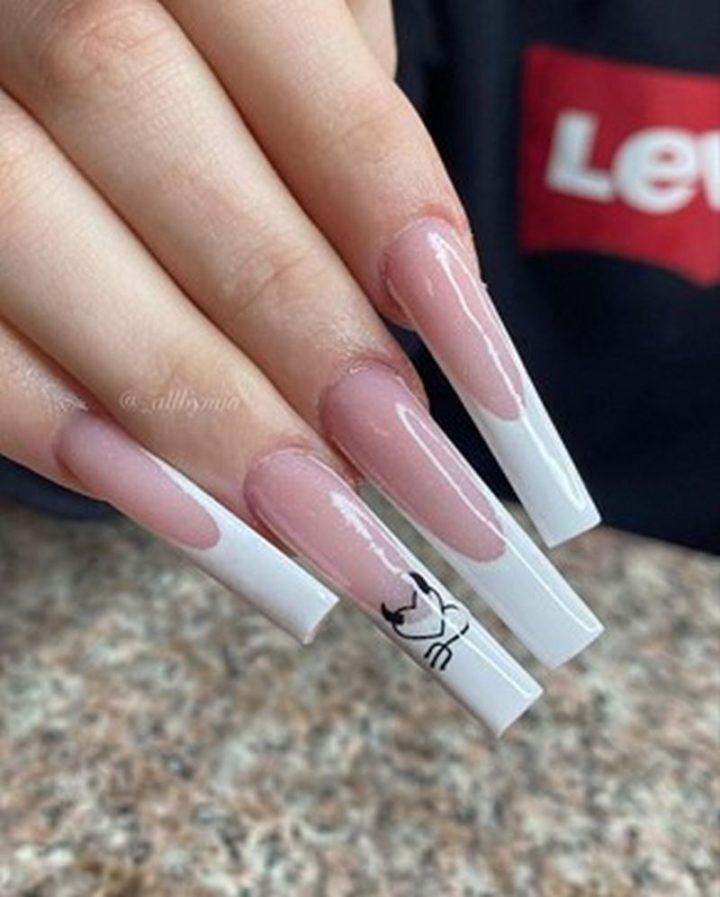White Round Edge Nails.