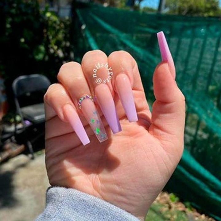 Ombre Purple Acrylic Nails Design.