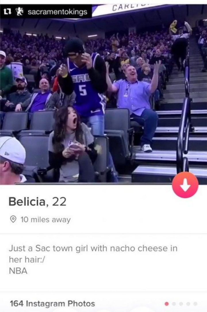 """Just a Sac town girl with nacho cheese in her hair. NBA."