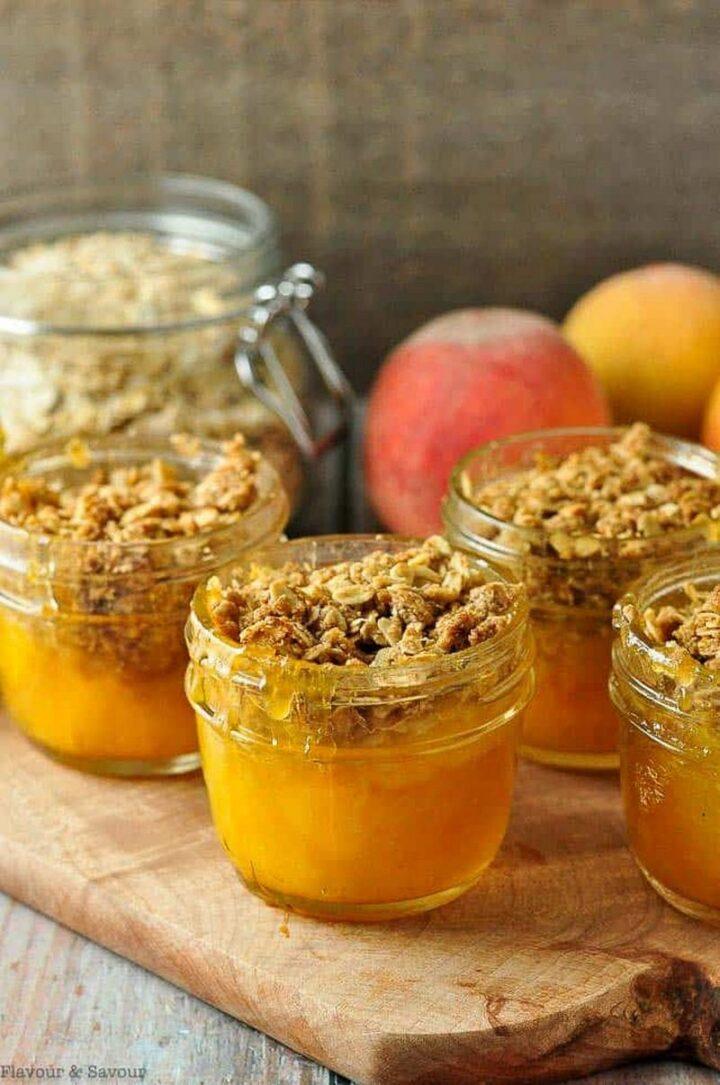 Gluten-Free Mason Jar Peach Crisp