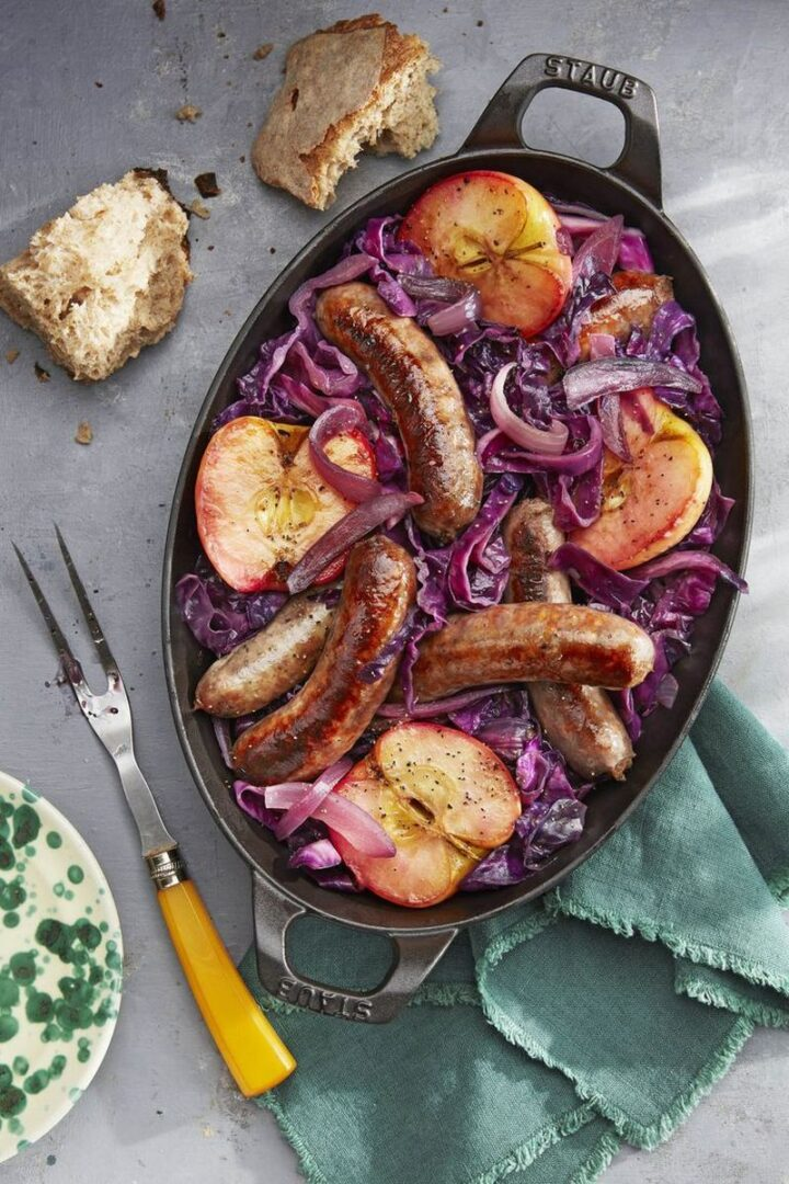 Seared Sausage with Cabbage and Pink Lady Apples