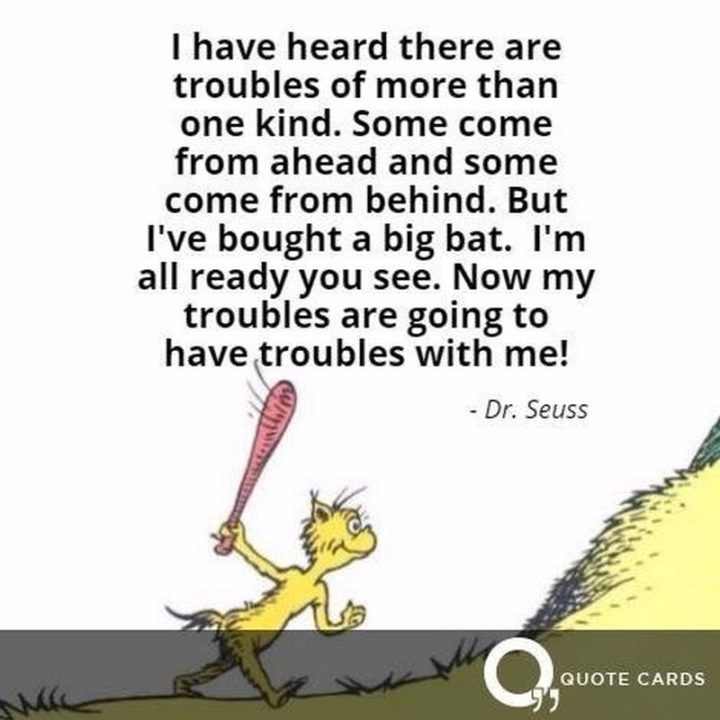 """""""I have heard there are troubles of more than one kind. Some come from ahead and some come from behind. But I've bought a big bat. I'm all ready you see. Now my troubles are going to have troubles with me!"""" - Dr. Seuss"""