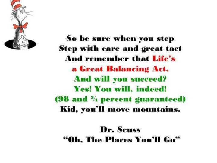 """""""So be sure when you step, step with care and great tact. And remember that life's A Great Balancing Act. And will you succeed? Yes! You will, indeed! (98 and ¾ percent guaranteed) Kid, you'll move mountains."""" - Dr. Seuss"""