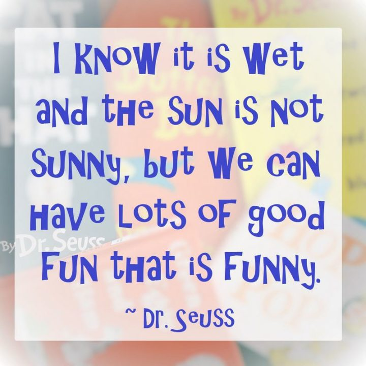 """""""I know it is wet and the sun is not sunny, but we can have lots of good fun that is funny."""""""