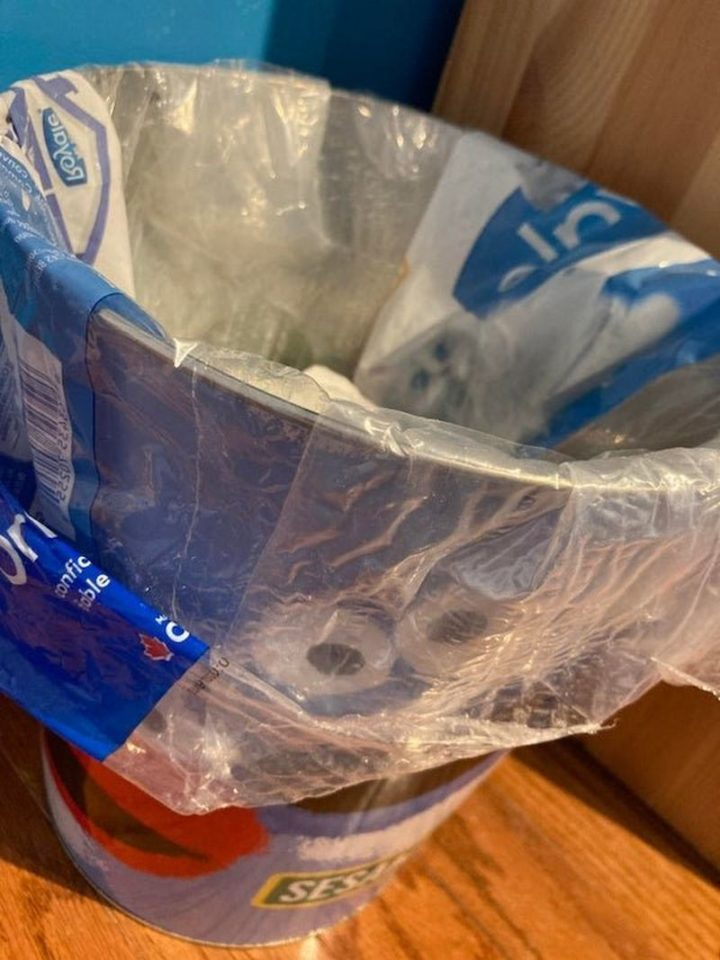 """27 Astonishing Life Hacks - """"I don't know who needs to see this but I keep empty paper towel/toilet paper packaging as intact as possible and use them for a garbage bag."""""""